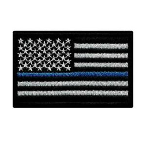 Thin Blue Line (Police Mourning Flag) Iron on Patch