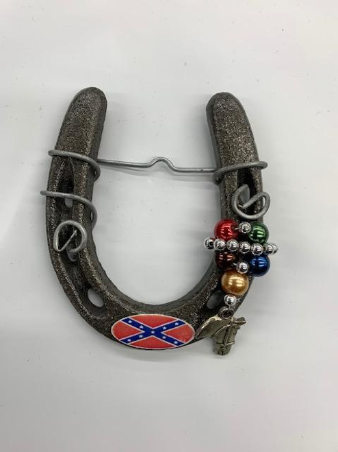Confederate Flag Horse Shoe. (with beads and horse head)
