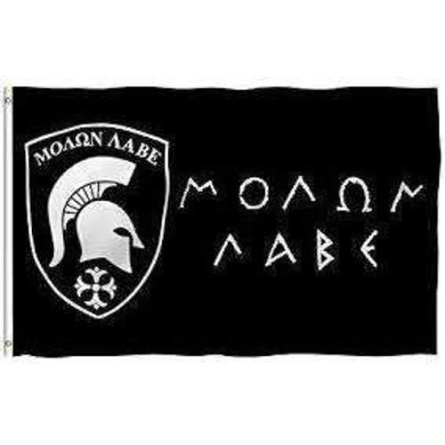 ΜΟΛΩΝ ΛΑΒΕ Come & Take It Molon Labe Spartan Helmet Flag