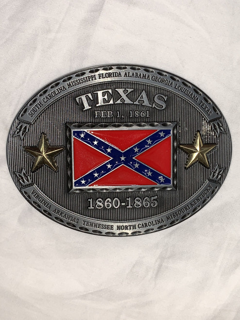 Texas confederate flag belt buckle