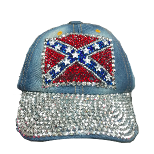 Confederate Flag Denim Bling Hat