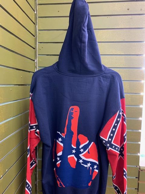 Confederate Middle finger Hooded Sweat Shirt- (Navy blue) with Zipper