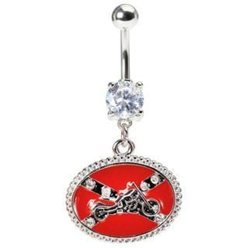 Confederate Flag w/ Motorcycle Navel Ring