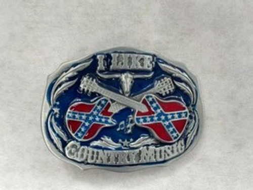 """""""I Like Country Music"""" Confederate Flag Belt Buckle"""