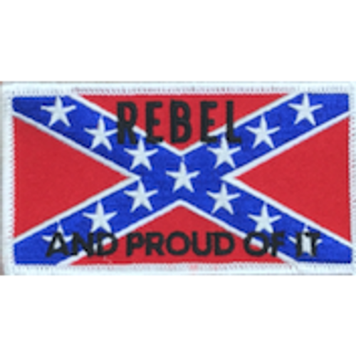 Rebel And Proud Confederate Flag Iron-On Patch
