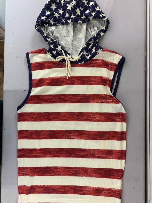 U.S Striped Flag Men Hooded Muscle Shirt