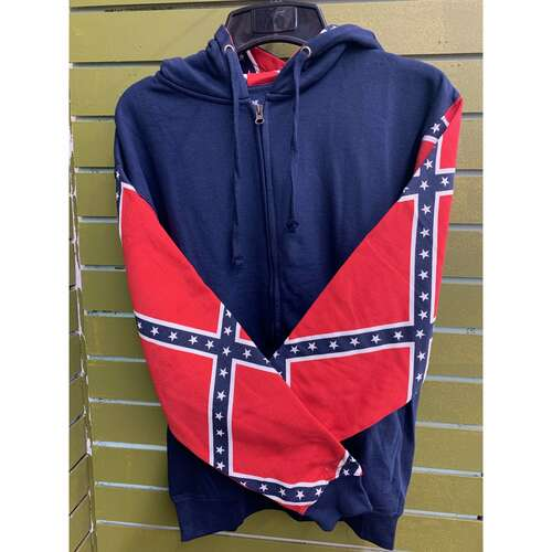RED/BLUE REBEL FLAG ZIPPER PLAIN HOODIE SWEATSHIRT