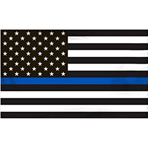 """Thin Blue Line"" Black and White American Flag"