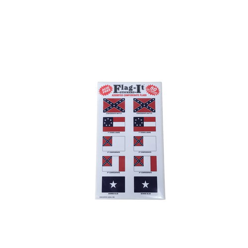 Pack of 50 Assorted Confederate Flag Stickers