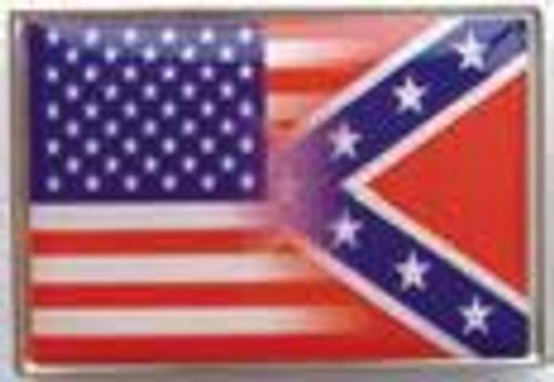 Half and Half USA/Confederate flag Lapel Pin