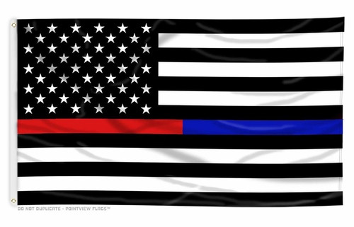 Thin Blue & Red Line Black and White American Flag