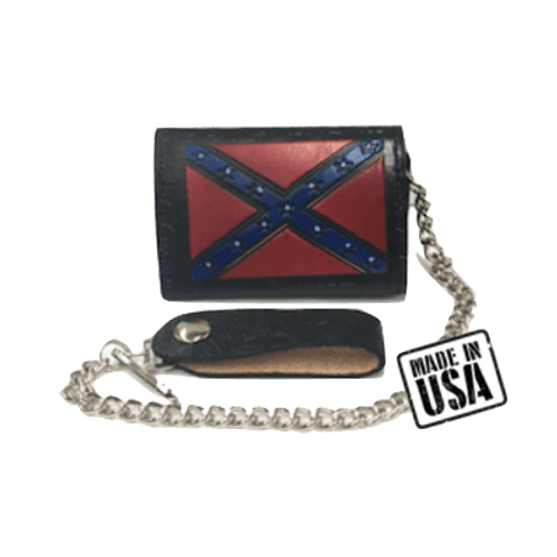 Confederate Flag Western Black Leather Wallet