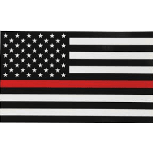 """Thin Red Line"" Black and White American Flag"