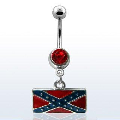 Surgical Steel banana belly button ring with red crystal
