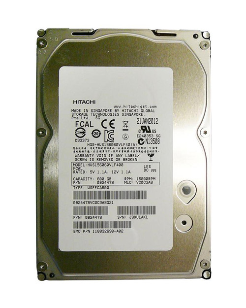 "Hitachi HUS156060VLS600 600GB 15000 RPM 64MB SAS 3.5/"" HDD P//N: 0B24502"