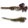 Purple gem and stone butterfly hair pins