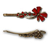 Red gem and stone butterfly hair pins