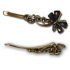 Charcoal gem and stone butterfly hair pins