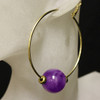 Purple/gold glass bead hoop earrings