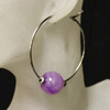 Purple/silver glass bead hoop earrings