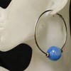 Blue/silver glass bead hoop earrings