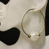 White/gold glass bead hoop earrings