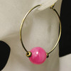 Pink/gold glass bead hoop earrings