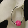 Pink/silver glass bead hoop earrings