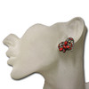 Red heart butterfly stud earrings