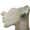 Teal heart butterfly stud earrings
