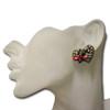 Multi color heart butterfly stud earrings