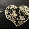 Black heart barrette