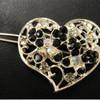 Black heart barrette