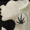 Silver marijuana leaf earrings