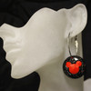 Black and red mouse earrings