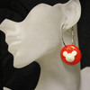 Red and white mouse earrings