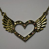 Multi color open heart wing necklace