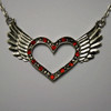 Red open heart wing necklace