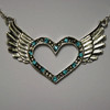 Teal open heart wing necklace