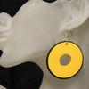 Yellow retro disc earrings