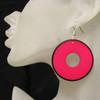 Hot pink retro disc earrings