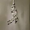 Silver charity or awareness ribbon earrings