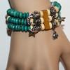 Wood bead charm bracelet