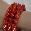 Red spiked bracelets