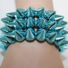 Teal spiked bracelets