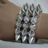 Silver spiked bracelets