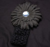 Black Gerbera daisy flower crochet headband