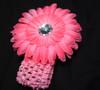 Pink Gerbera daisy flower crochet headband