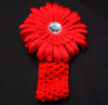 Red Gerbera daisy flower crochet headband