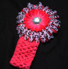 Hot pink cheetah Gerbera daisy flower crochet headband